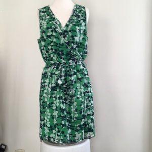 Banana republic green multi faux wrap dress 12P